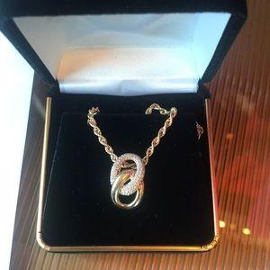 Jewelry - 14 Karat Gold Double Link & Diamond Pave Necklace